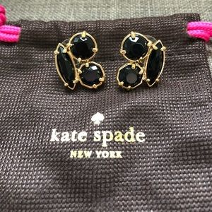 NEW Kate Spade 14k & Black Cluster Earrings